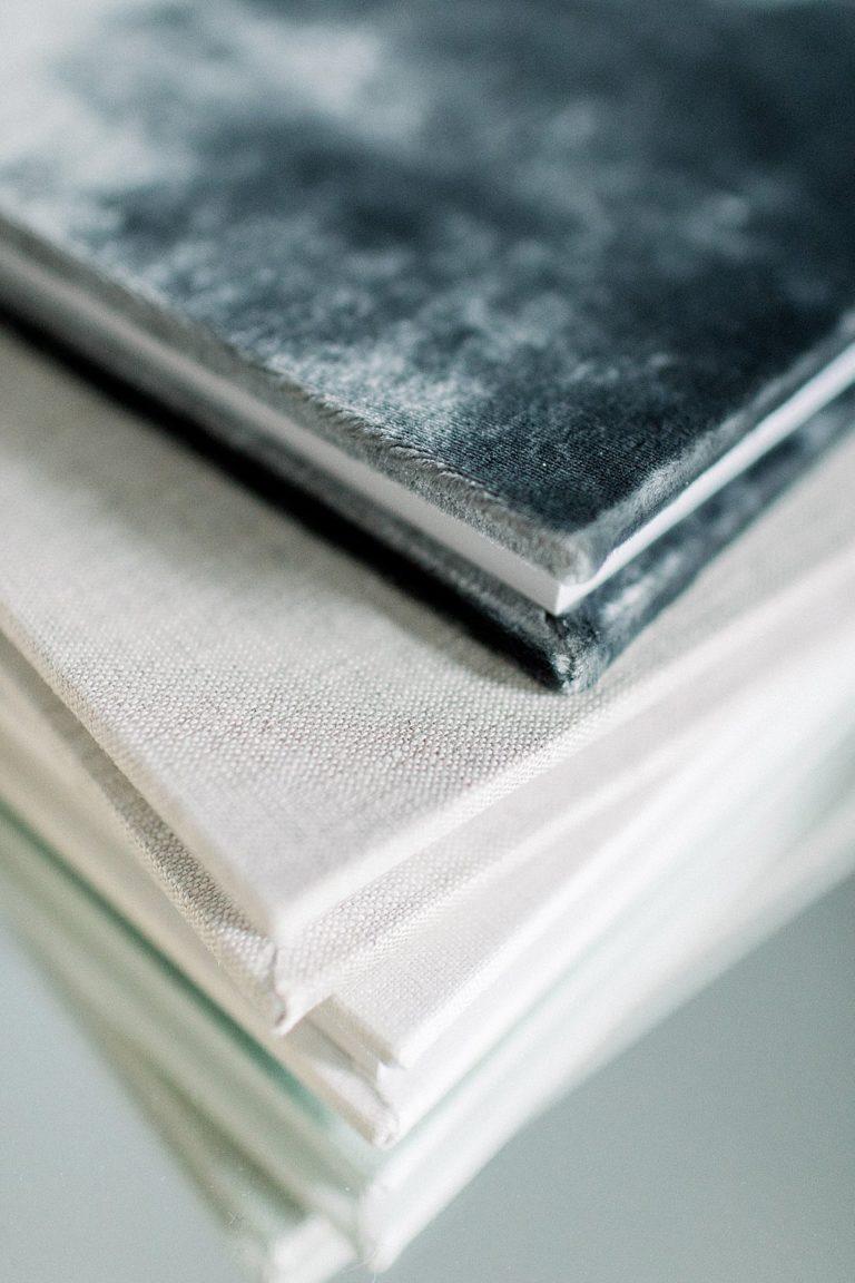 custom designed heirloom albums in linen and velvet_petite magnolia photography