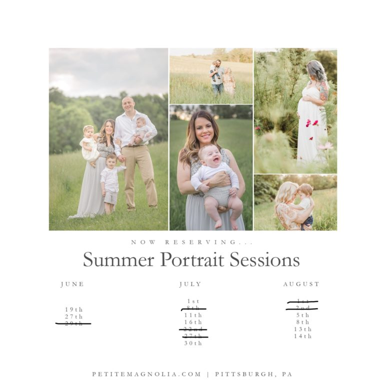 summer sunset portrait session calendar