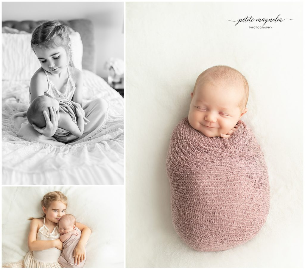 Newborn Session Details | Newborn Photography Pittsburgh sister and newborn baby on bed