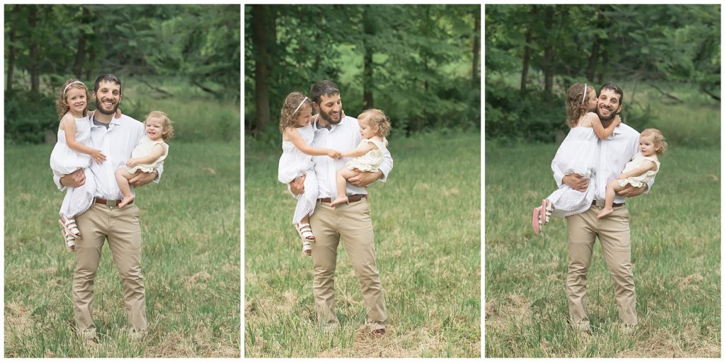 fall family photos pittsburgh, styled father & daughter in field at sunset