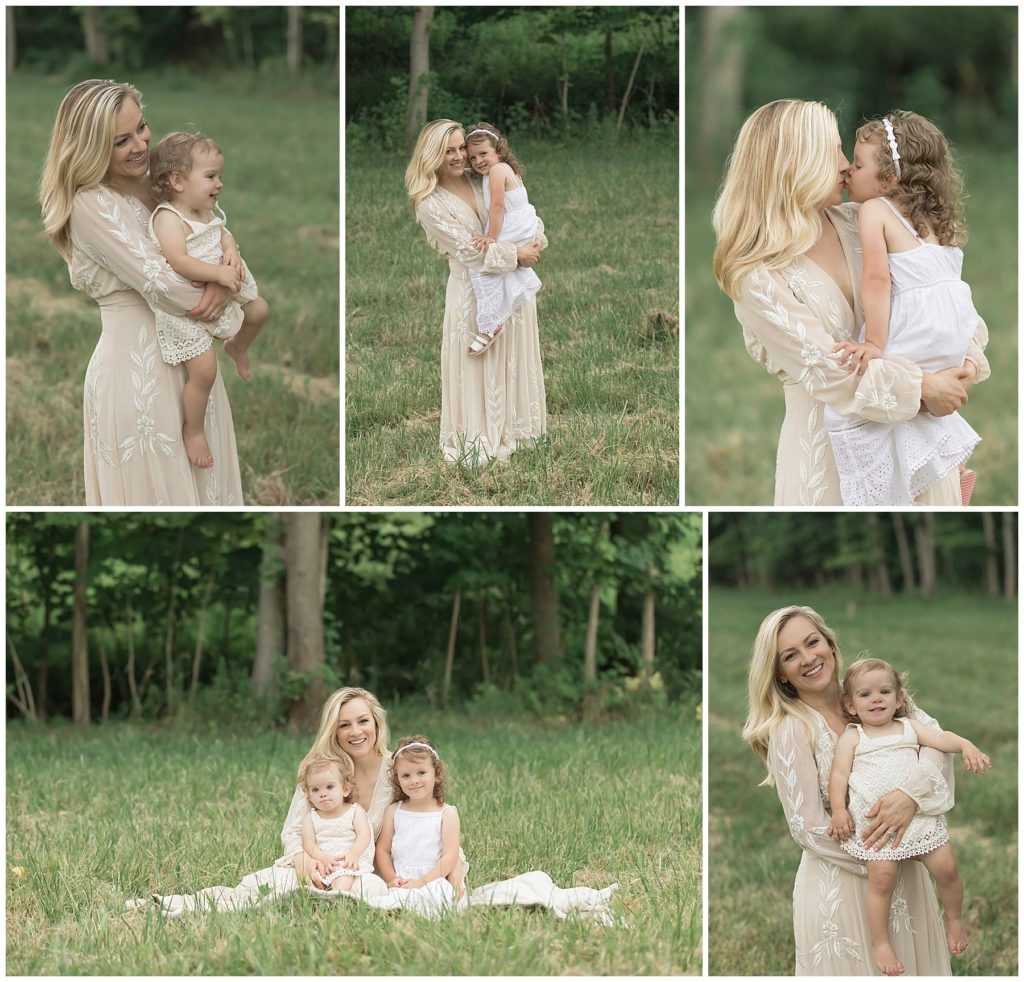 fall family photos pittsburgh styled mother & daughter in field at sunset