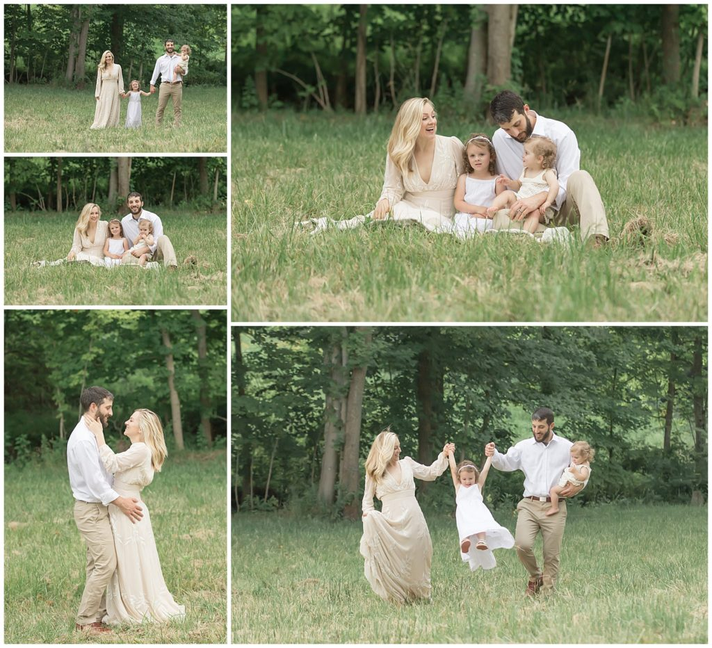 fall family photos pittsburgh styled family session in a field at sunset