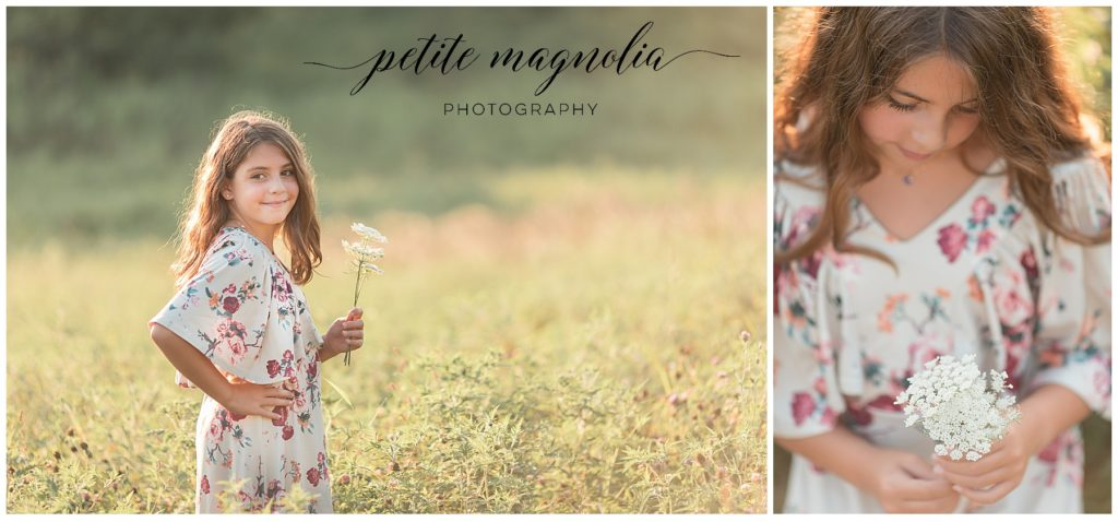 young girl in floral dress in field at sunset , petite magnolia photography