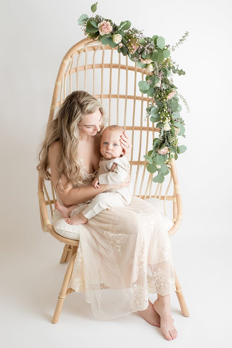 mom and one year old son on bohemian chair | petite magnolia photography