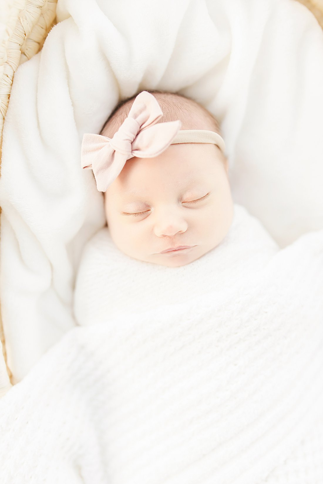 newborn girl with pink bow in moses basket_petite magnolia photography