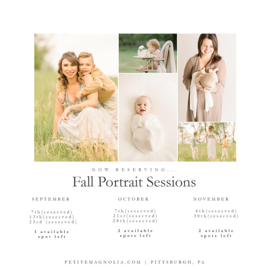 Fall Portrait Sessions Update